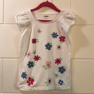 Gymboree butterfly/floral white T-shirt size small